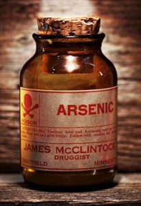 B79TFM Vintage arsenic poison bottle on antique shelf
