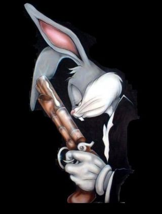 Bugs-bunny-gun-Black-Background