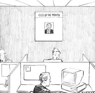 Matthew-diffee-office-with-poster-on-the-wall-for-c-e-o-of-the-month-new-yorkbbbbber-cartoon